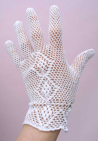 vtg 40s white crochet wedding gloves