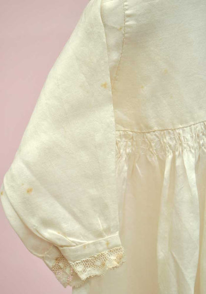 Babies Vintage Silk Embroidered Christening Gown Dress