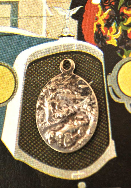 1920s Vintage Silver St Christopher Pendant • Safe Travel