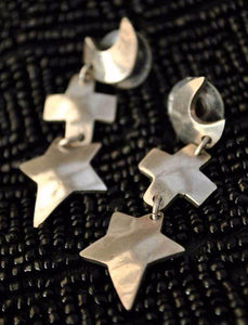 mexican silver moon star dangle earrings