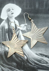 Vintage 70s glam rock starburst dangle earrings