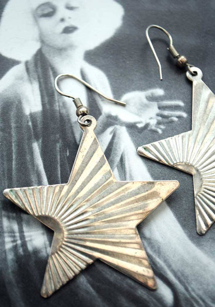 1970s Vintage Glam Rock Silver Star Burst Dangle Earrings