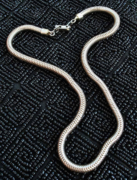vintage silver snake chain necklace