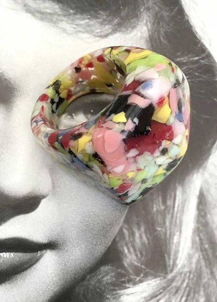 huge statement ring, retro multicoloured plastic resin bubble ring sobral maybe