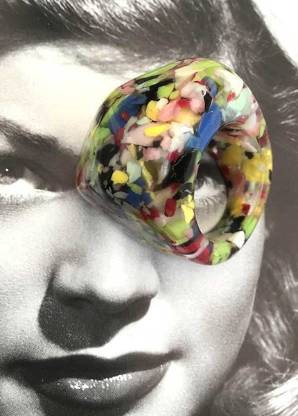 Retro Colourful Composite Confetti Lucite Bubble Ring