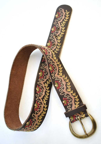 vintage boho embroidered leather belt by monsoon