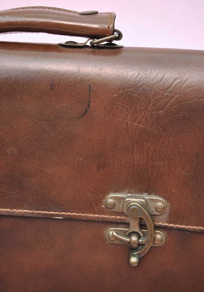 Vintage Steampunk Leather Briefcase • Brass Clasps