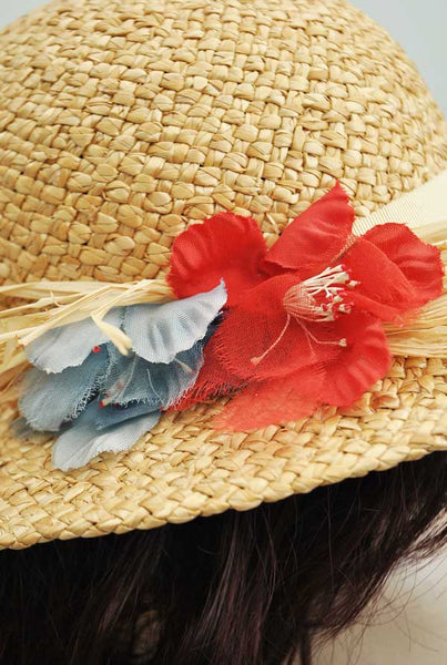 1970s Vintage 30s Style Straw Hat with Red & Blue Millinery Flowers