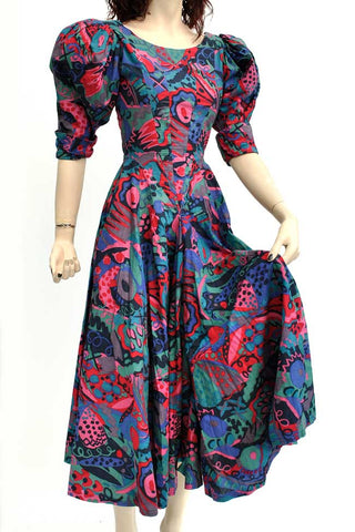 Droopy browns vintage hourglass waist summer cotton dress, victorian style