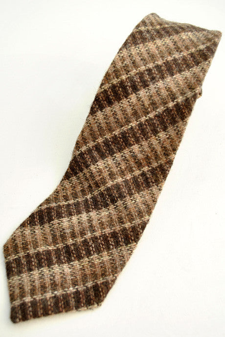 Men's Vintage 1970s Brown Wool Tweed Neck Tie