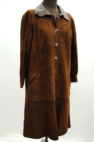 Women's Vintage 50s Long Brown Suede and Leather Coat