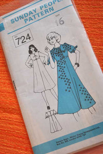 70s Sunday People Dress Pattern 724