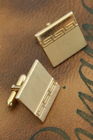 1950s Midcentury Swank Greek Key Cufflinks