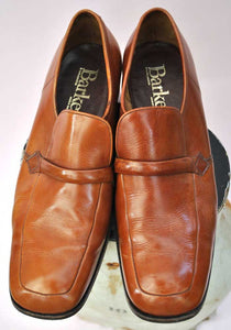 Men's Vintage 70s Tan Leather Slip on Mod Shoes • Barkers • Size 8