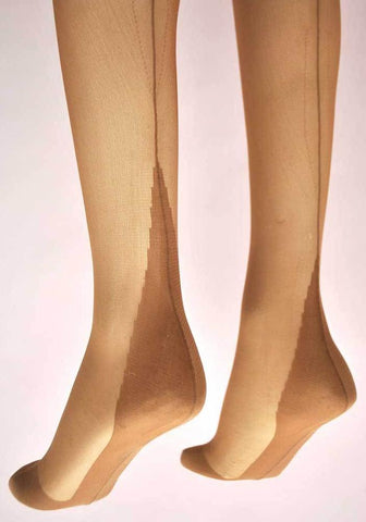 1960s Original Vintage Outline Fully Fashioned Stockings • Cuban Heel •Tan