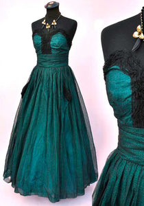 vintage 50s tulle ballgown, teal and black netted gown