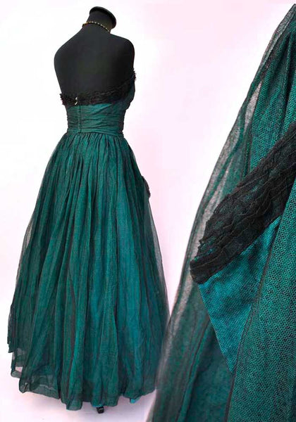 strapless vintage 50s evening gown, prom dress, teal green net tulle