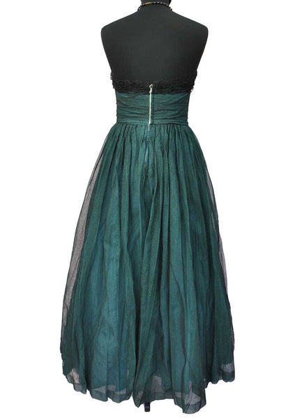 Vintage 50s Teal Sweetheart net tulle strapless ball gown • prom dress • XS