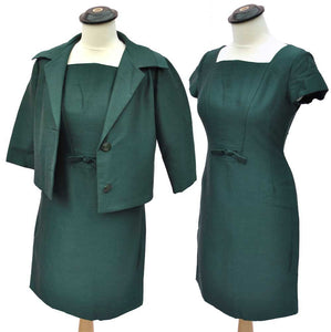 "Vintage 60s Teal Silk Wiggle Dress and Matching Jacket Set • 34"" Bust • Petite"