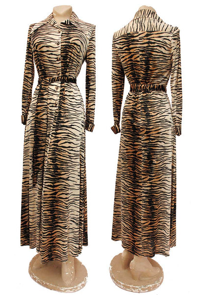 vintage 70s tiger print dress housedress
