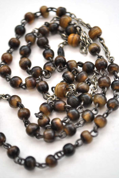 vintage tigers eye rosary beads