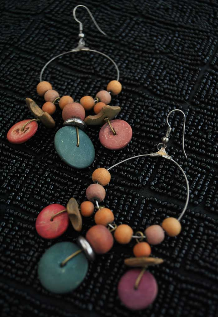 large tiki style vintage hoop earrings with wood beads and tagua nut beads