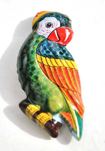 vtg tin parrot brooch