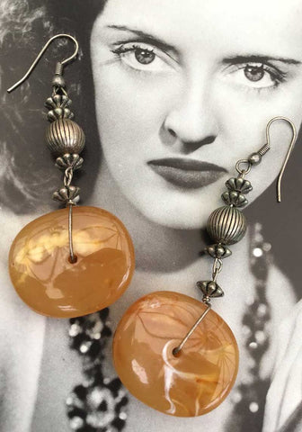 eggyolk plastic dangle boho earrings with pewter ethnic beads