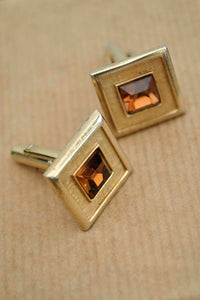 midcentury amber topaz glass, square cut cuff links