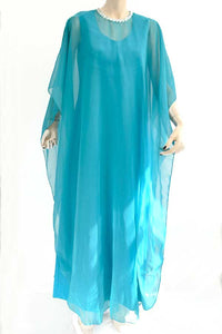 1960s Vintage Turquoise Chiffon 2 Piece Cocktail Dress • Maxi Dress • Kaftan