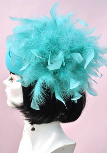 Vintage 80s Turquoise Felt Coque Feather Hat