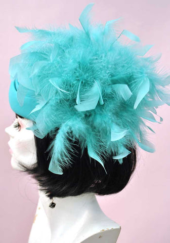 Vintage 80s Turquoise Lady Di Felt Feather Hat