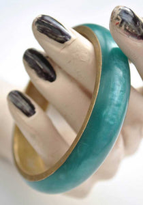 Vintage Turquoise Pearlescent Resin and Brass Bangle • Brass Bracelet