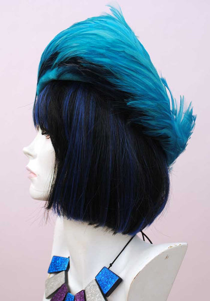 1950s Vintage Turquoise Velvet and Feather Hat