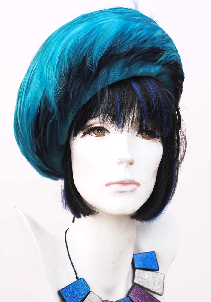 vintage 50s 60s turquoise blue velvet feather hat