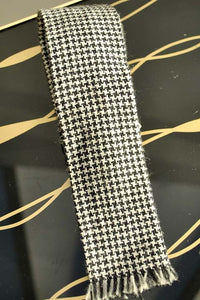 vintage black and white houndstooth tweed skinny tie with square ends