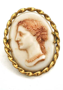 Vintage Cameo Brooch with Twisted Gold Metal Frame