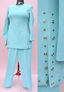 Women's Vintage 60s Turquoise Tunic Pant Suit • Nancy Sinatra • Space Age