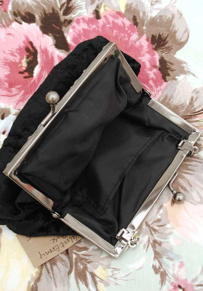 Retro Victorian Style Black Velvet Evening Purse Handbag • Decorative Metal Frame