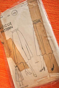 1940s Vintage Skirt pattern VOGUE 6160