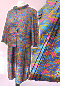 Vintage 60s Psychedelic Dress Suit • Tricel • Volup