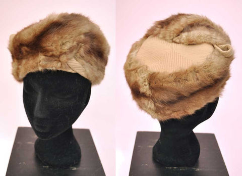 Vintage 50s Fur Turban Hat • Winter Fur Hat