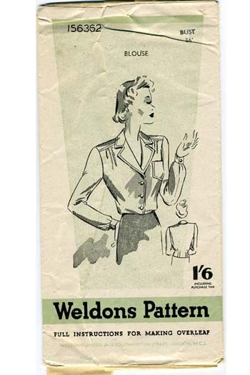 Weldons 1940s Blouse pattern 156362
