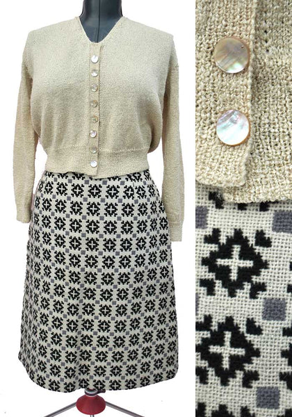 vintage beige welsh tapestry pencil skirt 30 inch waist