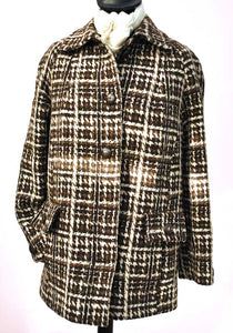 Women's Vintage 60s Houndstooth Wool Swing Jacket • Coat
