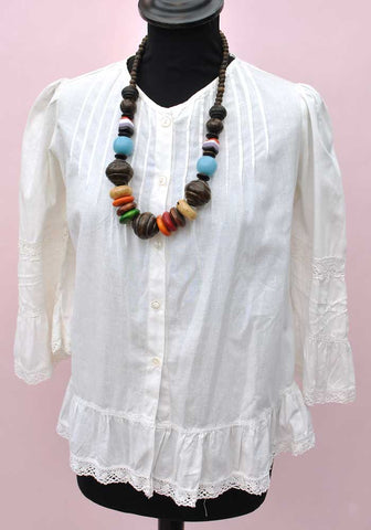 vintage white cotton peasant top