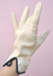 1960s Vintage White & Navy Vinyl Day Gloves • 7.5