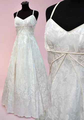 Vintage white damask strapless wedding ball gown, fit and flare with petticoats