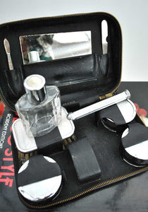 ladis vintage vanity travel kit with glass bottle and jars in a leather case circa 1930s