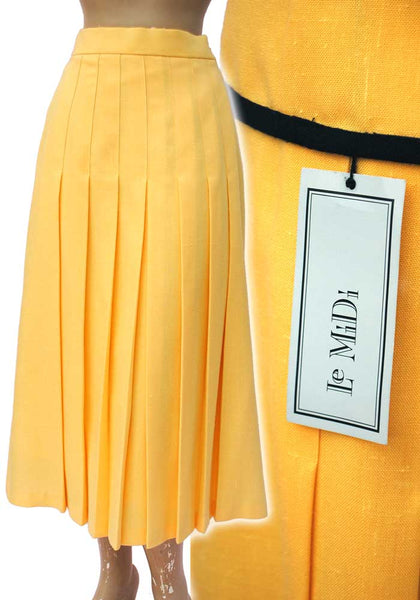 Vintage 80s Yellow and Black Skirt Suit Set • Marion Donaldson • Pleated Skirt